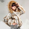 New Fashion Rabbit Fur With Hood Outerwear Fur Jacket For Women Hot Short Natural Fur Coat For Lady 20131114-1