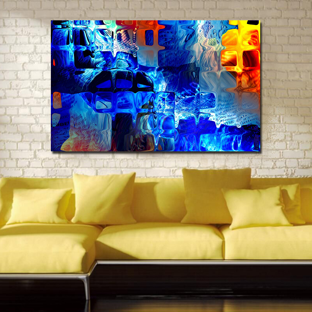 Living room oil paintings - Wang Art Abstract Blue Glass Paintings For Living Room Wall Paintings On Canvas Oil Painting Wall