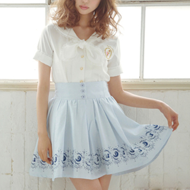 5c1320d579 Preppy style tralala juniors women s cat printed cute pleated skirts Anime  sailor moon Kawaii lolita Skirts