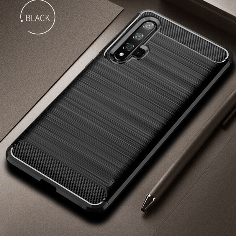 For Honor 20 Case Carbon Fiber Cover Shockproof Silicone Phone Case On For Huawei Honor 20 Pro Cover 360 Full Protection Bumper image