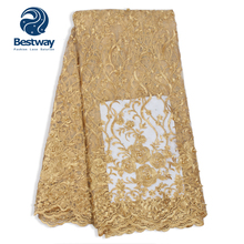 Bestway 3D Beads Fabric Lace Chiffon Tulle French Rhinestones Plain Embroidery Flowers Gold For Womens Party Cloths Laces