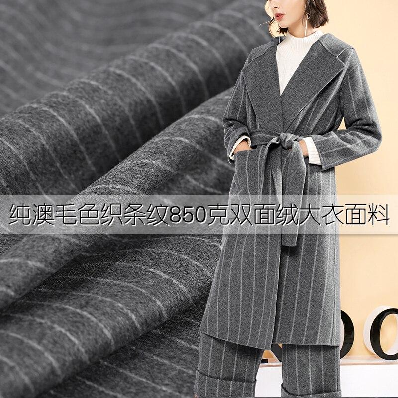 Tissu de laine australien épaissi à deux côtés tissu de laine rayé gris anglais veste costume tissu de laine en gros tissu de laine