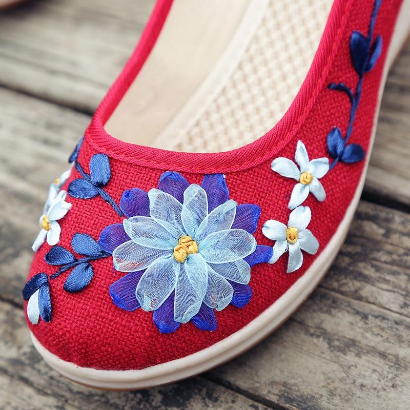 Casual vert Femmes Med Pompe Talon Vintage Wedge Chaussures Plate Sandales rouge forme or Lin Beige Respirant Filles Brodé D'été bleu Toile 2018 EIqRv