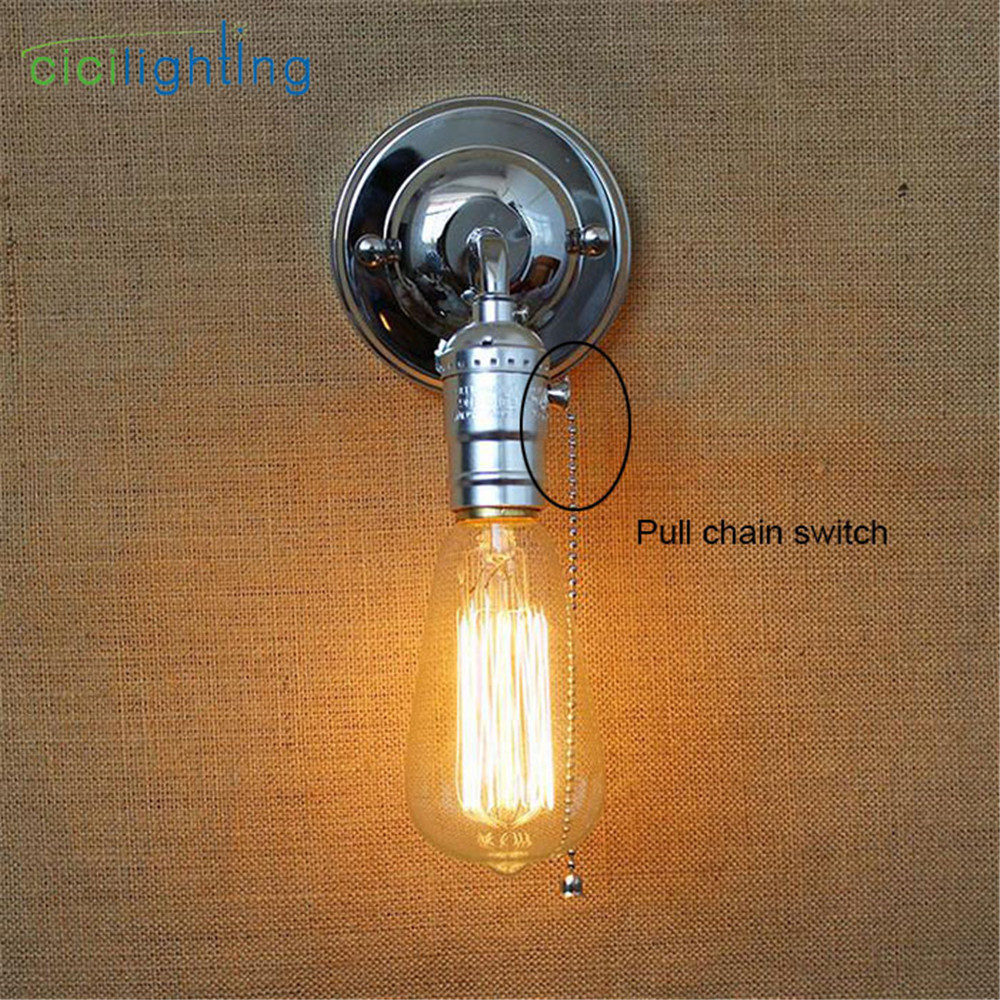 Pull Chain Switch Scones Led Wall Lights Chrome Loft Style Retro Vintage Iron Bedroom Wall Lamp Bedside Lampen Stair Wandlamp