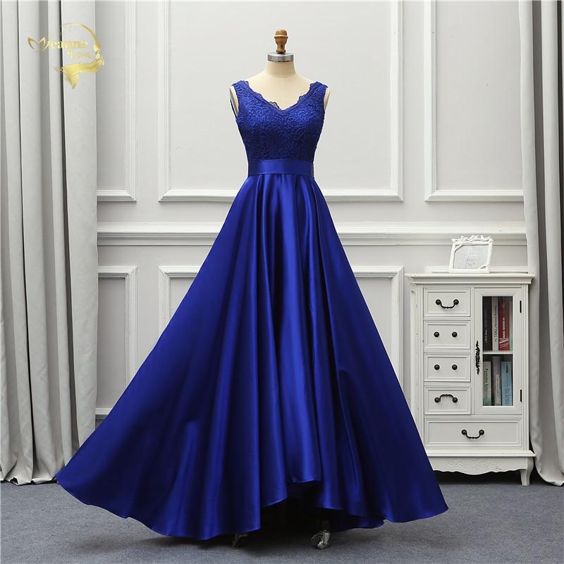 Jeanne Love Sexy Evening Dress 2019 New Backless V Neck Royal Blue Open Back Lace Robe