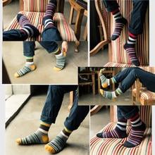5 Pairs/Lot Casual Men's Chromatic Stripe Socks