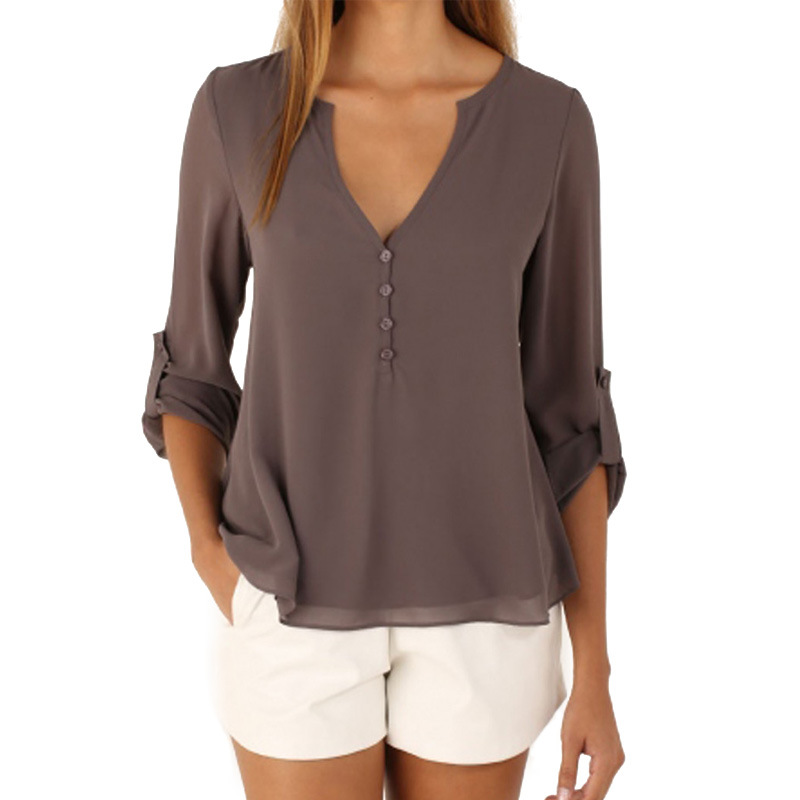 Fashion Thin 11 Color Female Chiffon Shirts Women Summer Casual Top Plus Size S 5XL Loose Long sleeve And Light Chiffon Blouse in Blouses amp Shirts from Women 39 s Clothing