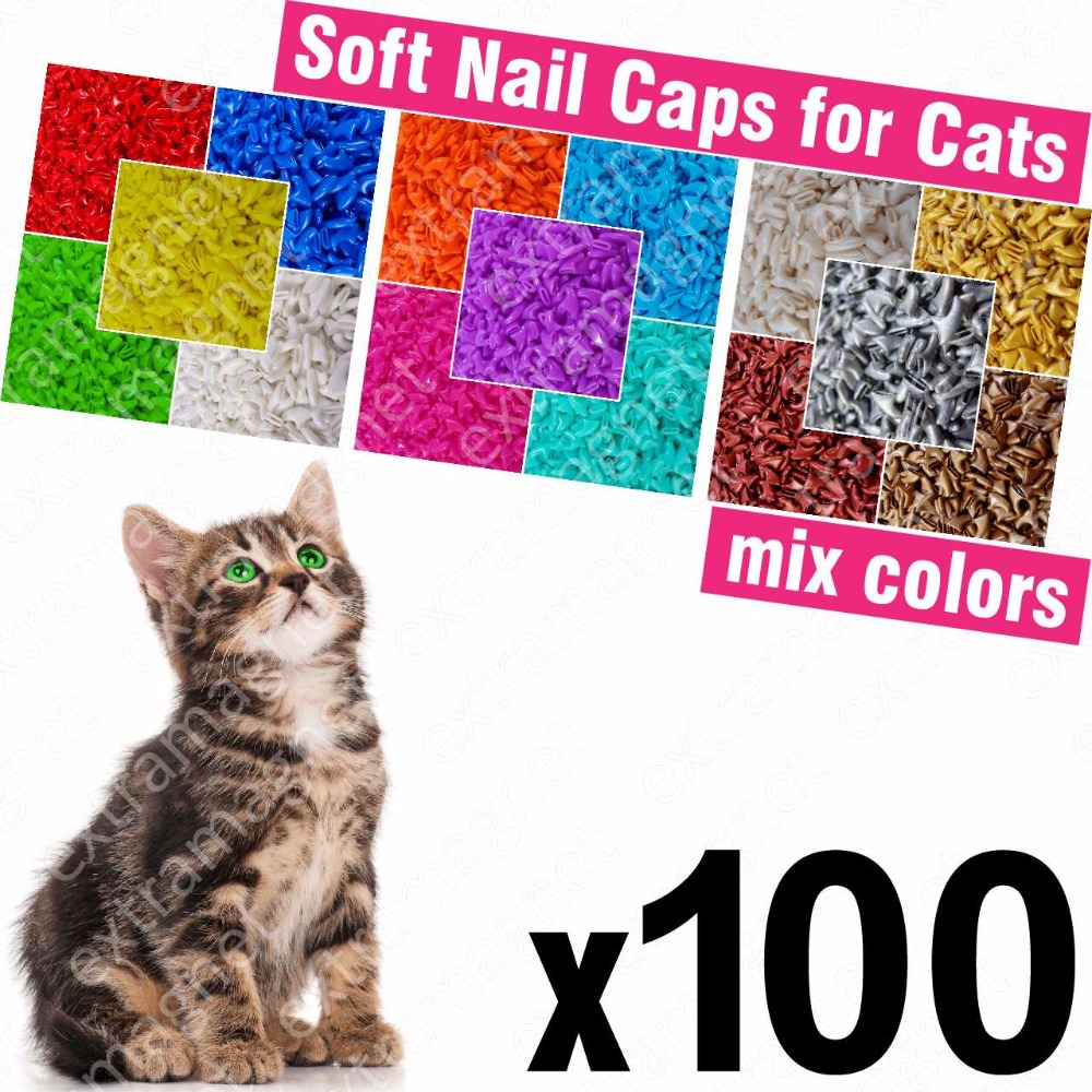 100pcs Soft Nail Caps For Cats + 5x Adhesive Glue + 5x Applicator /* Xs, S, M, L, Cover, Cat, Paw, Claw, Zot */