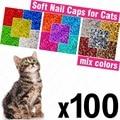 100 шт Мягкие колпачки для кошек + 5x клейкий клей + 5x аппликатор/* XS, S, M, L, чехол, кошка, лапа, коготь, zot */