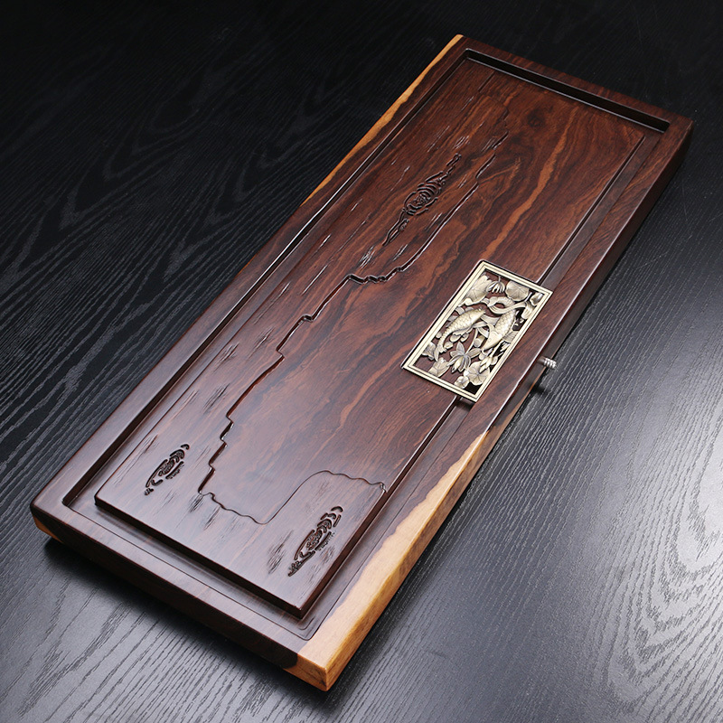 Factory Wholesale High Grade Ebony Tea Tray Chinese Kung Fu Tea Table Carving Cha pan Home/Office Tea Table Decoration Gift ...