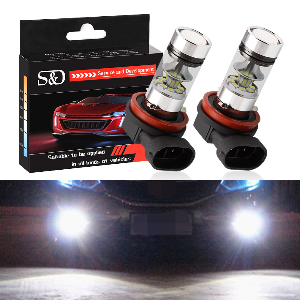 2pcs H11 H8 LED Bulbs White 9005 HB3 HB4 9006 Car Daytime Running Lights Fog Light Auto DRL Driving Lamp 360 degree beam angle tcart 2x 9005 hb3 9006 hb4 dual color car led headlight white yellow headlamp bulbs fog lamps for plips chip 36w auto led light