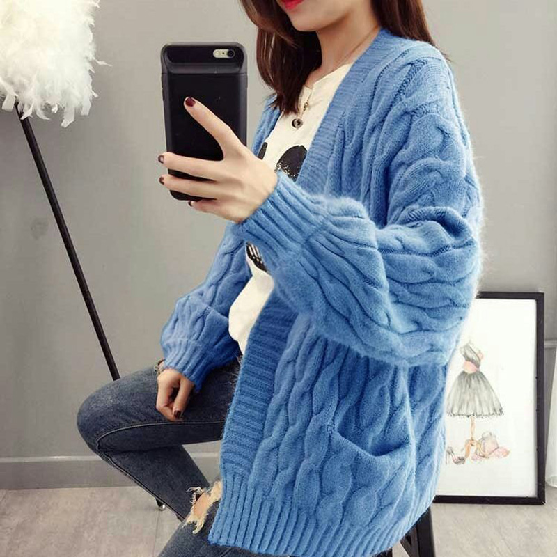 OHRYIYIE Thick Coarse Wool Cardigan Sweater Women 2020 Spring Autumn Casual Mori Girl Style Knitted Sweaters Female Girl's Coats