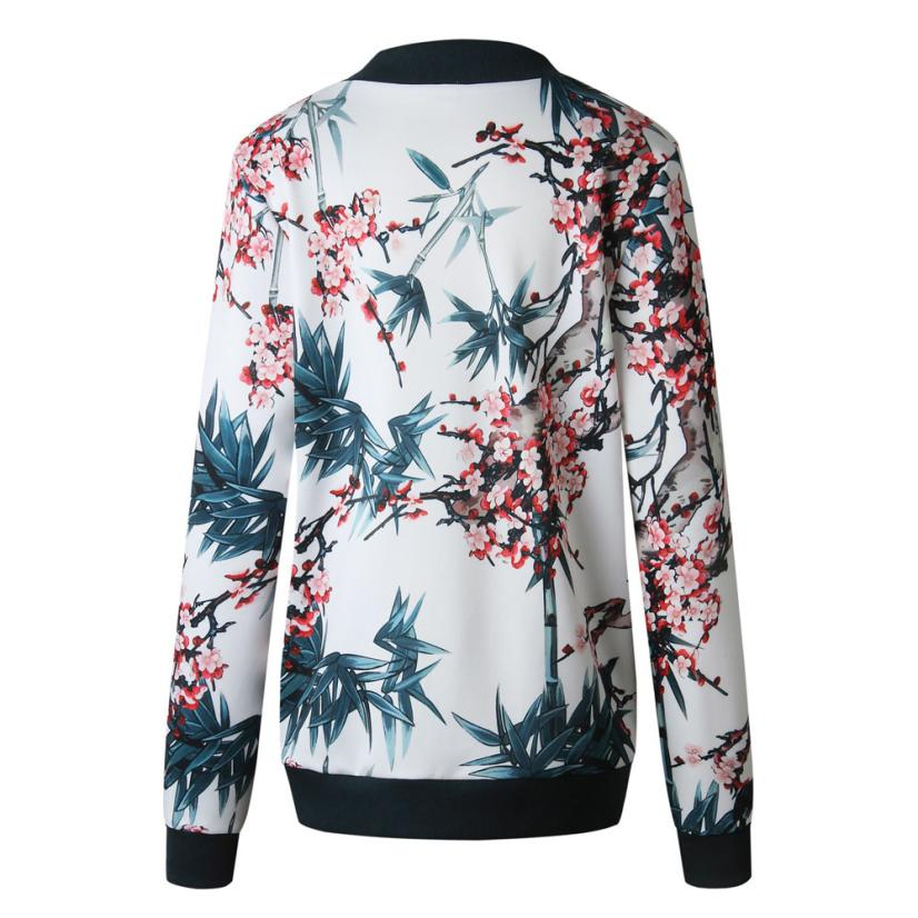 Outerwear & Coats Jackets Womens Ladies Retro Floral Zipper Up Bomber Outwear Casual coats and jackets women 18AUG10 17