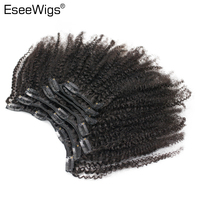 Eseewigs Afro Kinky Curly Human Hair Clip In Extensions 7pcs/Set Brazilian Remy Hair Extension Clip 120g Full Head Natural Color