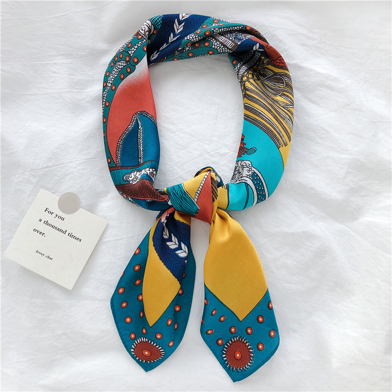 Luna&Dolphin Hair Band Square Scarf 70*70 Bohemia Navy Blue Chiffon Silk Neck Scarves Headband Horse Paiting Retro Bandana