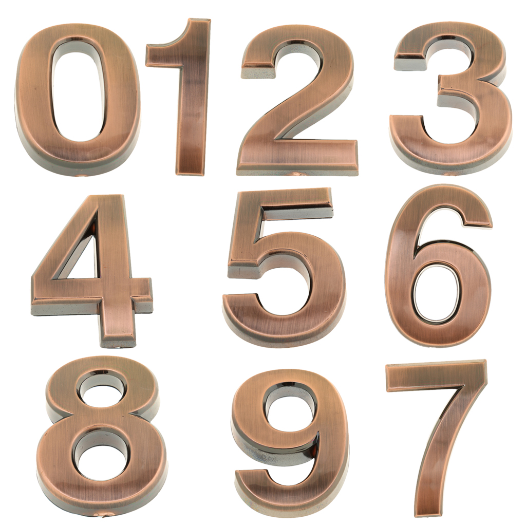 0-9 Number House Hotel Door Plate Home Garden Wall Decor Retro Address Plaque