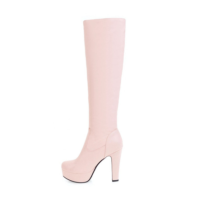 MEMUNIA Large size 34-45 knee high boots for women autumn winter high heels shoes woman PU soft leather platform boots female