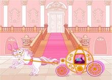 Cinderela Princesa do Conto de fadas Rosa Carriage Baby Shower aniversário fundo do estúdio Vinil pano de fundo Do Computador pano de impressão