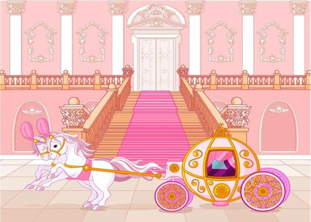 Cinderella Princess Fairytale Pink Carriage Baby Shower Backdrop