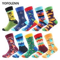 10 Pairs/lot Men's Long Combed Cotton Socks Shark Coconut tree Rainbow Novelty Colored Happy Socks Autumn Winter Casual Socks