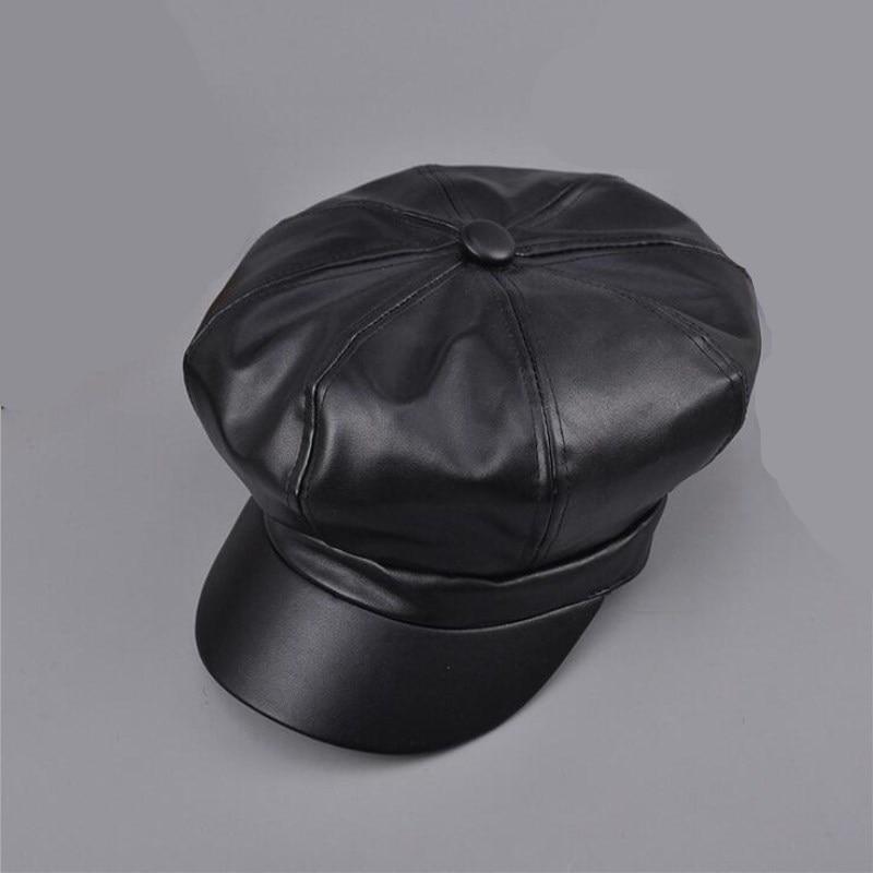 2018 Moda Fresco PU Boina Chapéu para Homens e Mulheres Gorras Casquette Cap Boinas Inverno Quente ao ar livre Do Couro Do Vintage chapéus