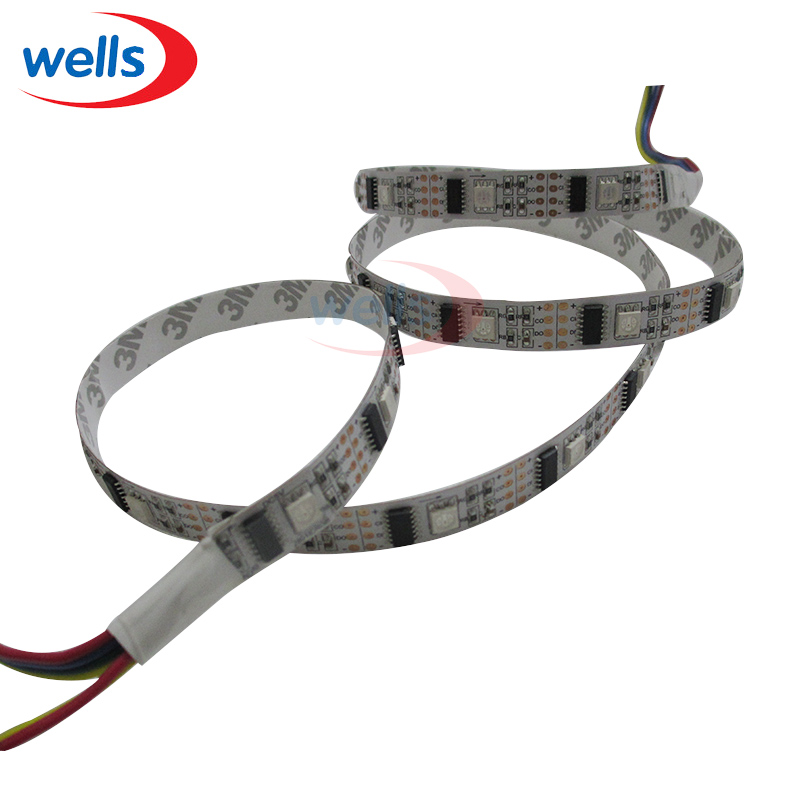 DC5V WS2801 32LED/M 160LEDs, 32 WS2801IC/M, 1m/3m/5m 5050 SMD LED Strip 12mm White/Black PCB Individually Addressable