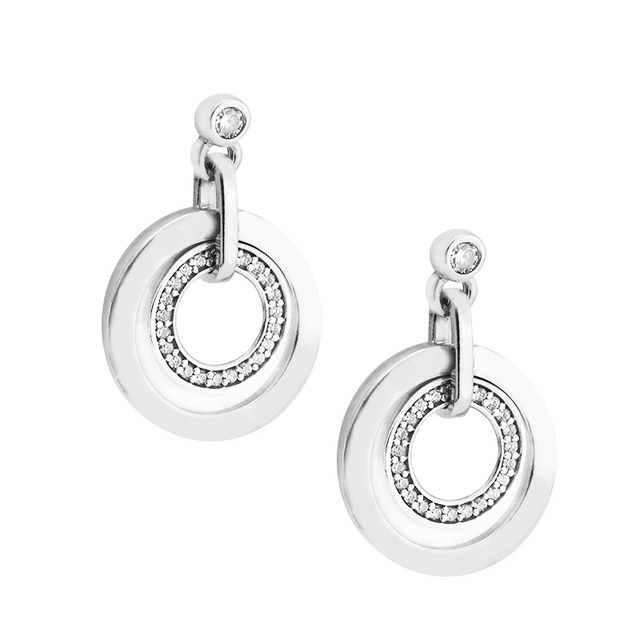 Circles Drop Earrings with Clear CZ Original 925 Sterling Silver Jewelry Fashion Earrings for Women DIY Charms Beads Jewelry