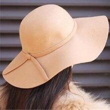 Macio Mulheres Retro Vintage Lã Aba Larga Feltro Bowler Hat Fedora Floppy  Cloche Chapéus de Sol c5c528f1a32