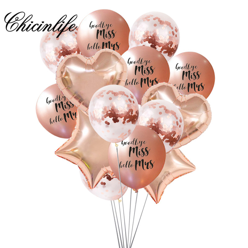 Chicinlife 1set rose gold Goodbye Miss Hello Mrs Balloon Hen Party Wedding Photo Prop Bachelorette Party Ballons Party Decor