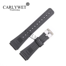 CARLYWET 20mm Men Lady Black Replacement Silicone Rubber Straight End watch band Strap Loop With Silver Polished Pin Buckle(China)