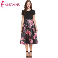 ANGVNS New Women Casual O Neck Short Sleeve Prints Patchwork A Line Pleated Hem Dress Summer