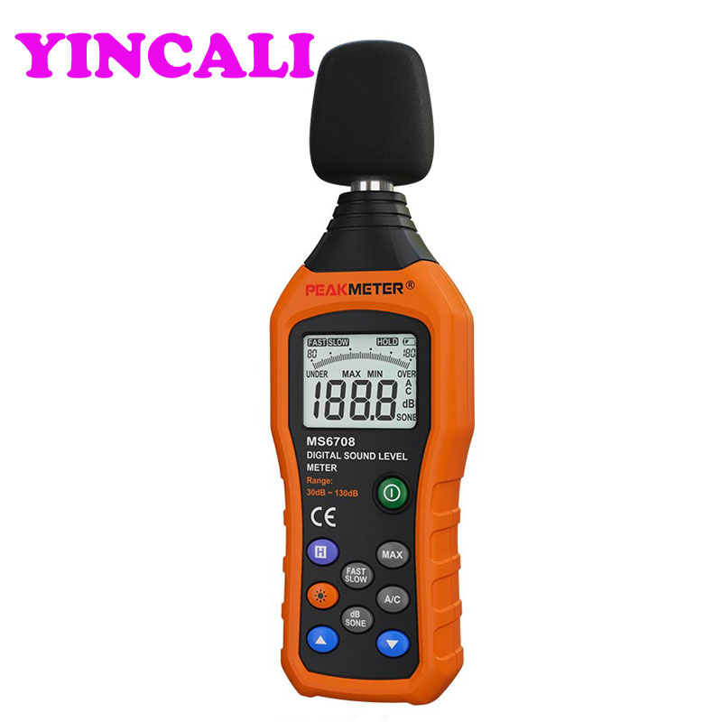 2 Pieces LCD MS6708 Digital Sound Level Meter Noise Meter Measuring Logger Tester 30 to 130 dB Measuring Logger Tester 4 8 days arrival lb92t portable sweetness tester brix meter with measuring range 58 92