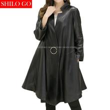 SHILO GO New Fashion Women Luxury Casual Stand Collar Button Long Sleeve Loose Cloak A-Line Sheepskin Genuine Leather Long coat
