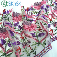 2yards Lot High Quality Applique Fabric Wedding Decoration Flower Embroidered Woolen Bilateral Positioning Fabrics For Patchwork