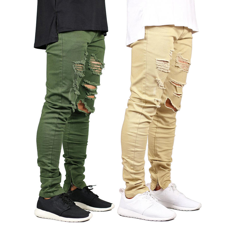 Men Skinny Jeans Fashion Stretch Zippers Style Hip Hop Army Green Jeans E5007