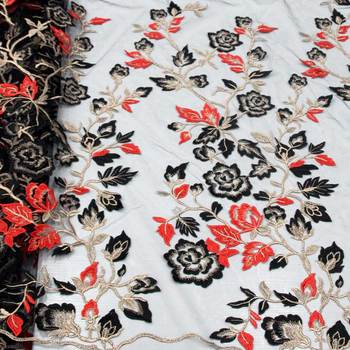 High Grade French Lace Fabric With Beads And 3D Flora Embroidery African Nigerian Lace Fabric For Wedding Dress  F18012602