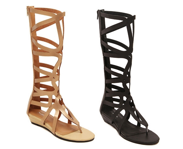 a5d602d3aad 2015 Cool Sandals Size 35-40 Women s Gladiator Cut-Outs High Top Sandals  Boots Hot T Show Sandals 9373