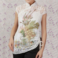 White Female Blouse Traditional Chinese Women's Lace Embroidery 2pc Shirt Top Mujer Camisa Clothing Size M L XL XXL XXXL A0048