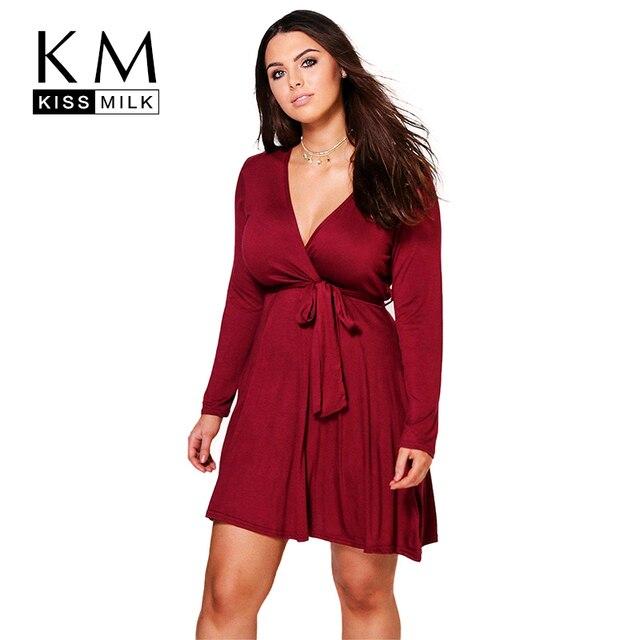 Kissmilk Women Plus Size Deep V Neck Waist Tie Mini Dress Long ...