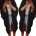 Durable Moda mujeres abrigo PLUS SIZE Cotton Blend Señora Women Casual Knit Suéter Manga de la Chaqueta Cardigan Chaqueta
