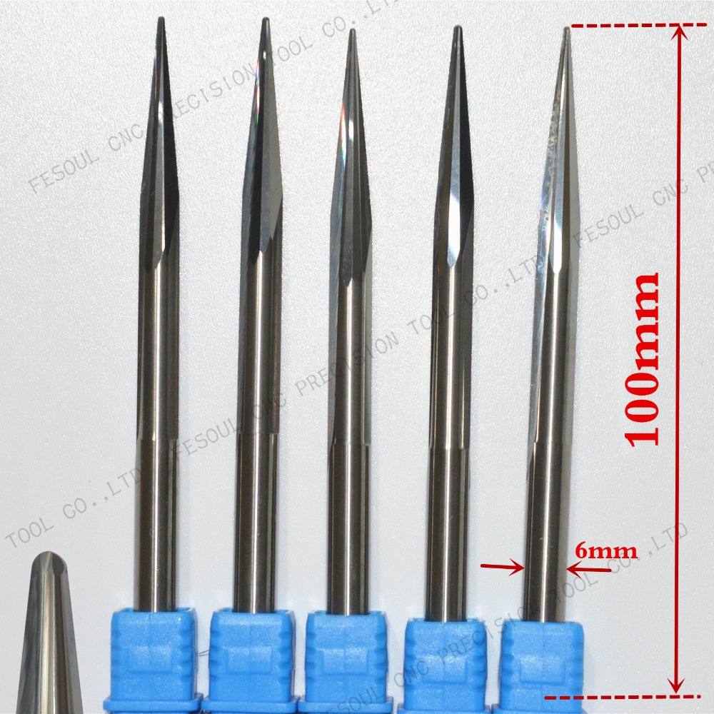 6mm 10degree 100L 5pcs Free shipping Taper Ball nose Cone End Mill CNC milling Cutter Solid