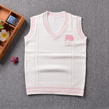 2017 new cute cheese embroidery college style Japan soft sister JK uniforms knitted vest