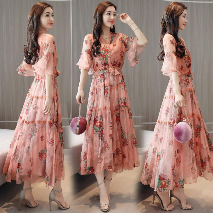 Fashion Elegant Pink Floral Midi Dress Lace V-neck Half Sleeve Chiffon Women Summer Ladies Dress Sundress Vestidos Ropa Mujer 23