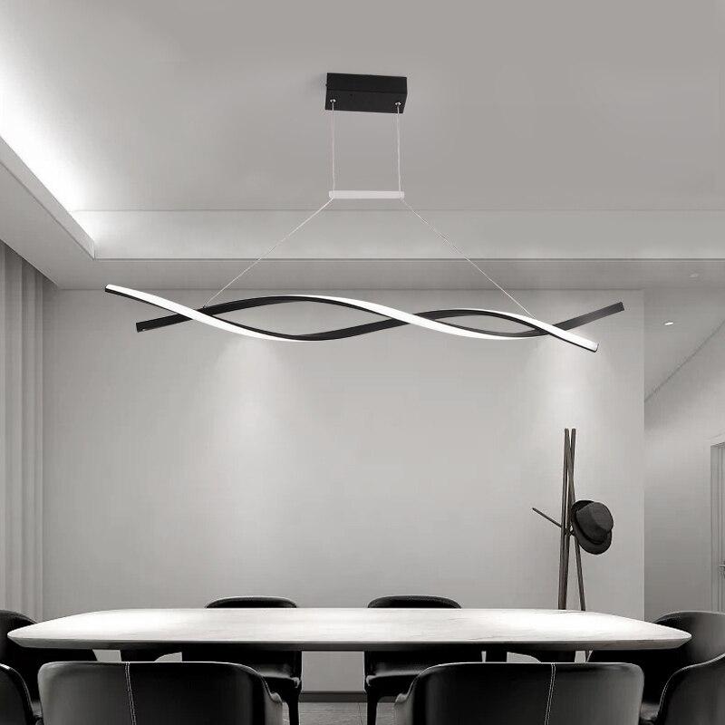 Fosco preto ou cinza minimalista moderno led pingente luzes para sala de estar jantar cozinha sala luminária żyrandol - 3