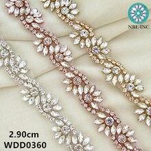 (1 YARD) Bridal beaded silver rose gold crystal rhinestone applique trim  iron on for ca2e56bce6eb