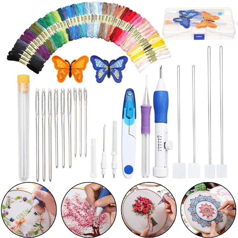 KiWarm Magic DIY Embroidery Pen Knitting Sewing Tool Kit Punch Needle Set w/50 Threads Plastic+Steel Home Decoration Ornaments