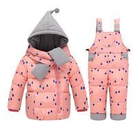 2017 chegam Novas crianças meninos meninas inverno das Crianças Define bebê dot esqui terno Dos Esportes da criança quente para baixo jaqueta + calças define ternos