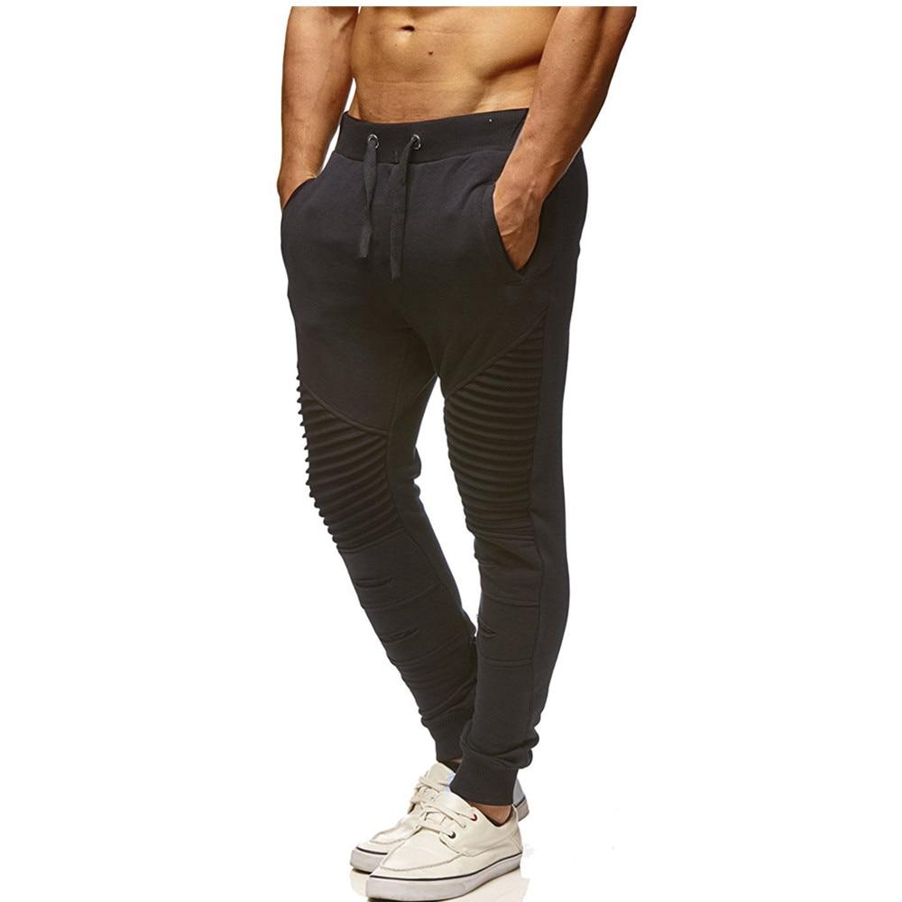 Hot 2019 Outdoor Spring Autumn sport knee creasing design sport pants men joggers Running hip hop elastic waist harem sweatpants in Running Pants from Sports Entertainment