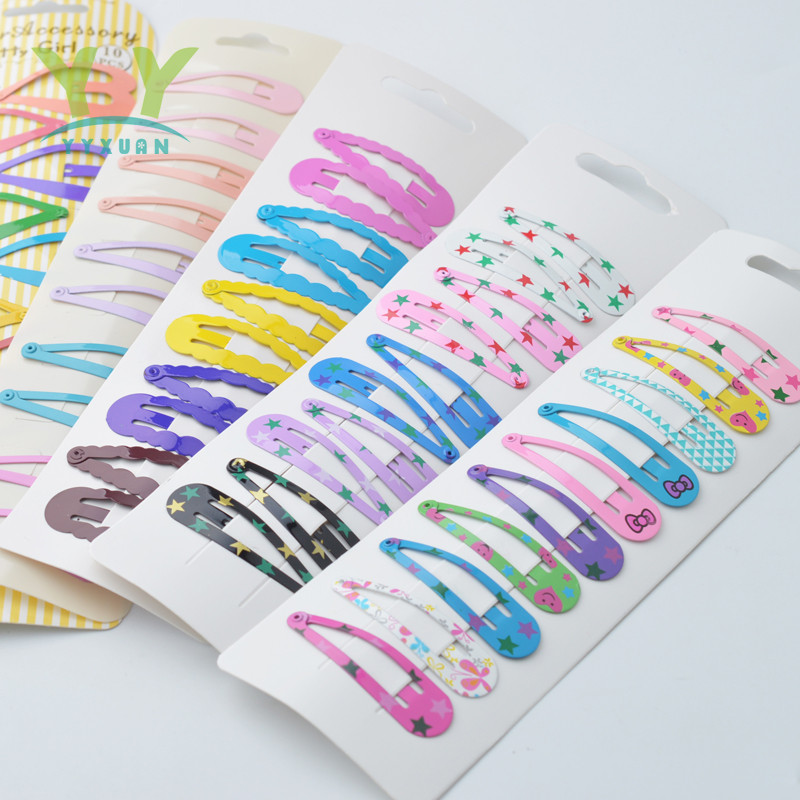 10 Pieces High Quality Printing Snap Hair Clips For Kids Solid Matel Hairpins Girls Hair Accessories Clips