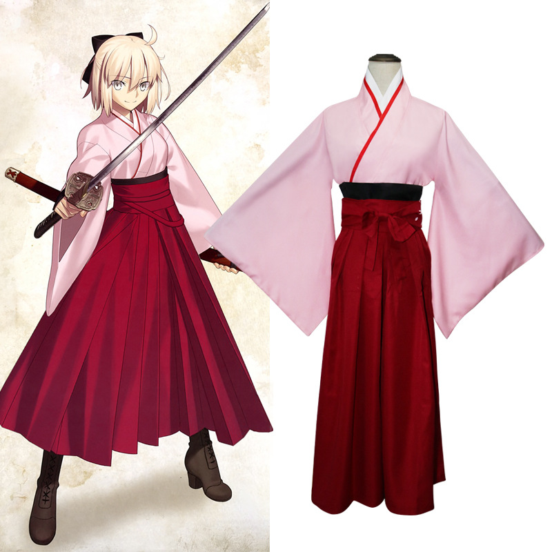 Novelty Women Dress Anime Fate Saber Cosplay Costume Traditional Japanese Robe Elegant Kimono Suit Girl Performance Clothes